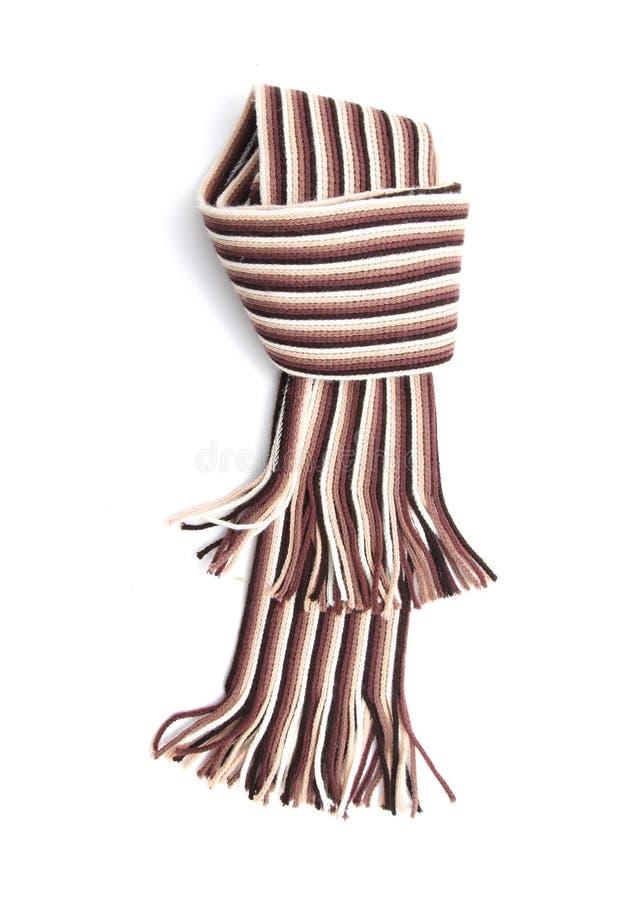 Шарф связанной картины нашивки коричневый и белый стоковые фото