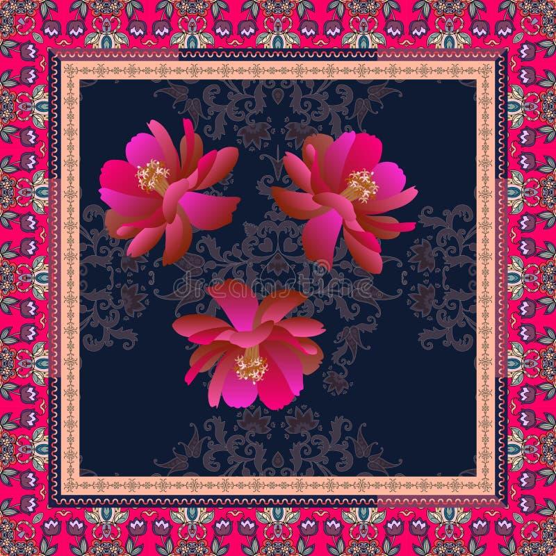 Шарф шелка с малиновыми цветками пиона на этническом орнаменте Пейсли и орнаментальная рамка с тюльпанами сирени иллюстрация штока