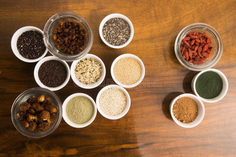 Шары различных superfoods стоковое фото rf