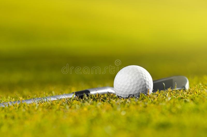 Шар для игры в гольф и клуб на траве стоковое фото