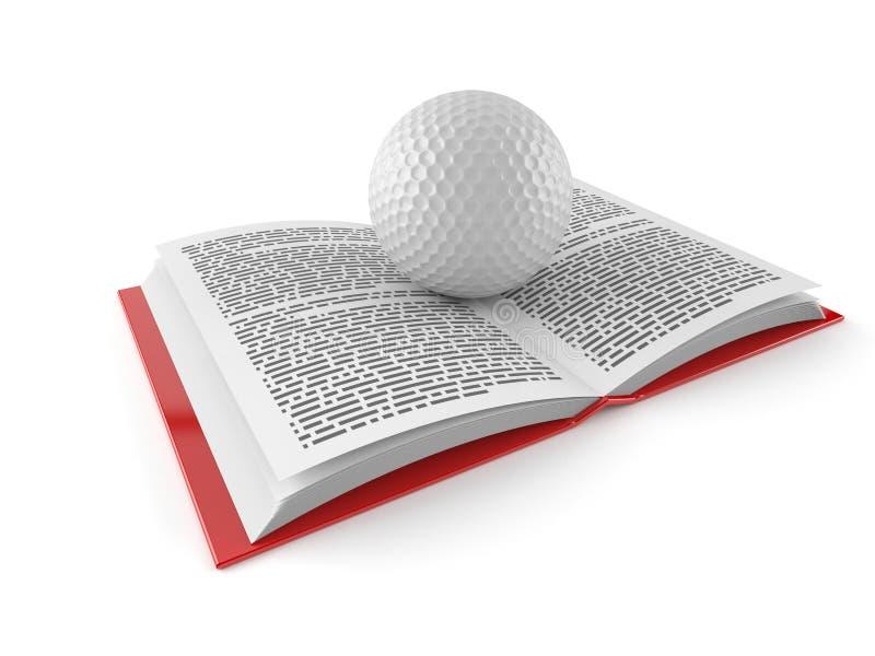 Шар для игры в гольф на открытой книге бесплатная иллюстрация