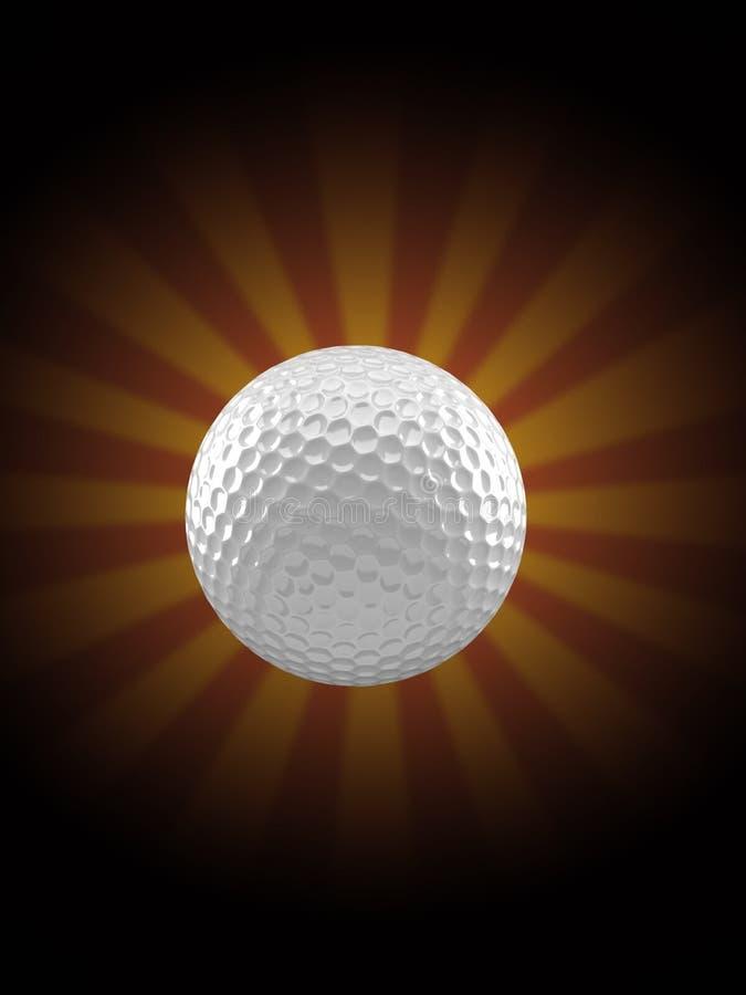 Шар для игры в гольф на предпосылке лучей иллюстрация штока