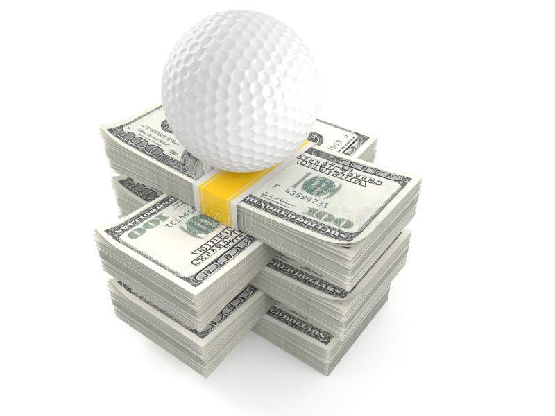 Шар для игры в гольф на стоге денег иллюстрация штока