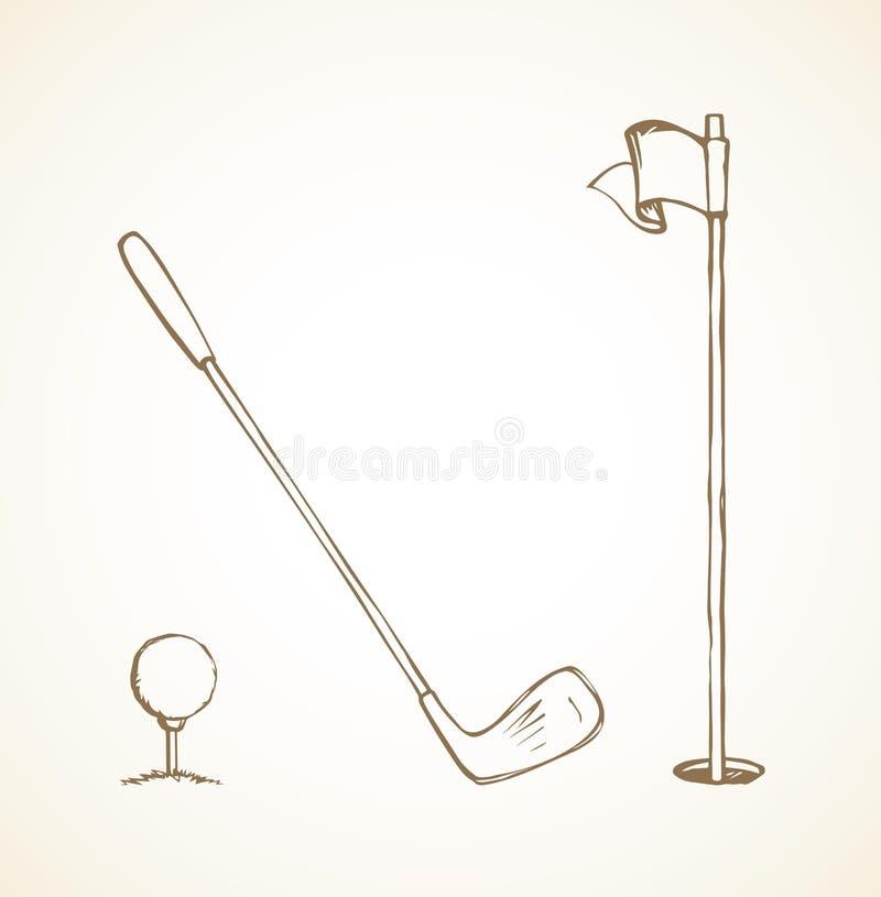 Шар для игры в гольф предпосылка рисуя флористический вектор травы иллюстрация штока