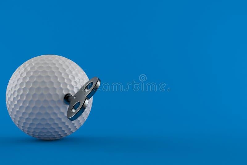 Шар для игры в гольф с ключом clockwork иллюстрация вектора