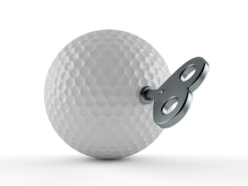 Шар для игры в гольф с ключом clockwork иллюстрация штока