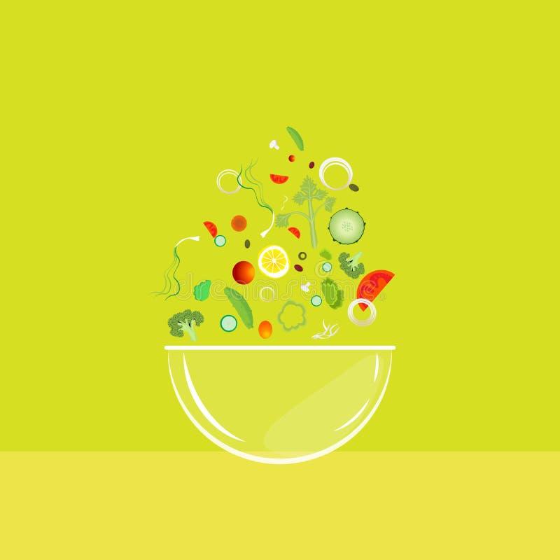 Шар салата с падая овощами бесплатная иллюстрация