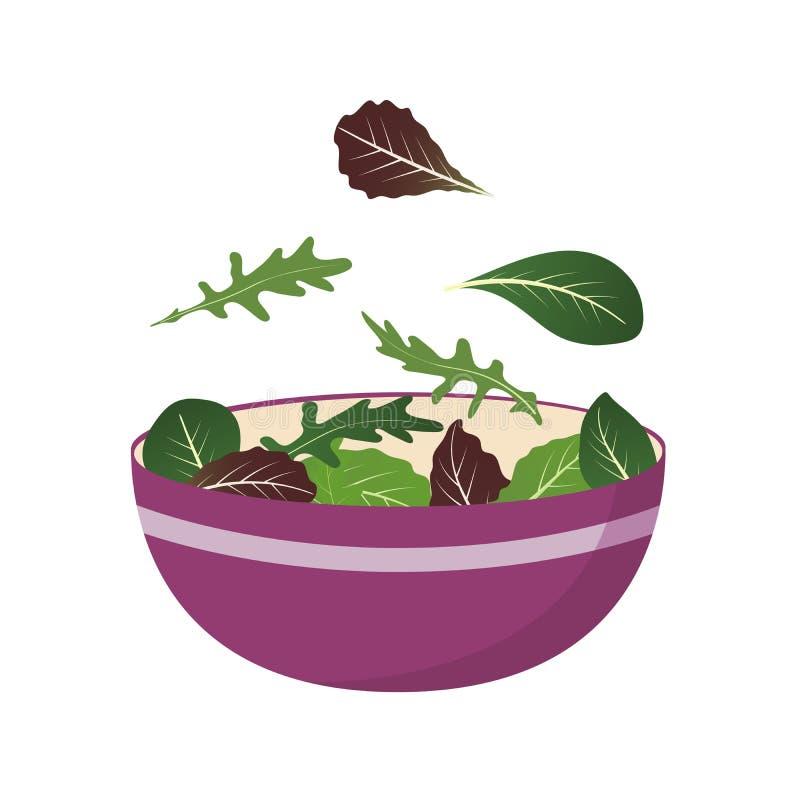 Шар свежего смешивания листьев салата Лист Arugula, шпината и салата Комплект иллюстрации вектора в плоском стиле иллюстрация штока