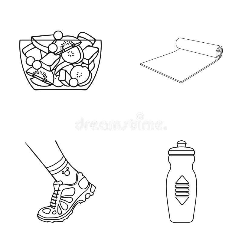 Шар фруктового салата, циновка, тапка на ноге, бутылке воды Значки собрания фитнеса установленные в стиле плана иллюстрация штока