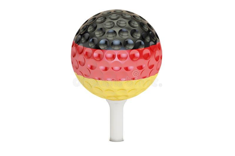 Шар для игры в гольф на тройнике с флагом Германии, перевода 3D иллюстрация вектора