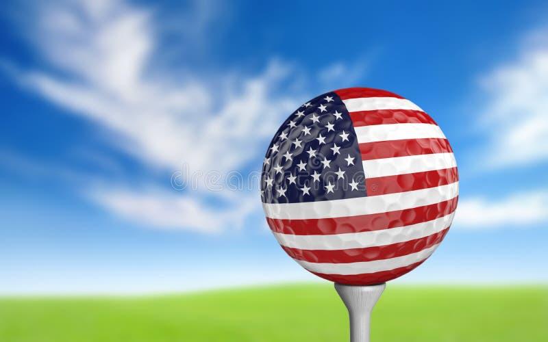 Шар для игры в гольф с флагом Соединенных Штатов красит сидеть на тройнике бесплатная иллюстрация