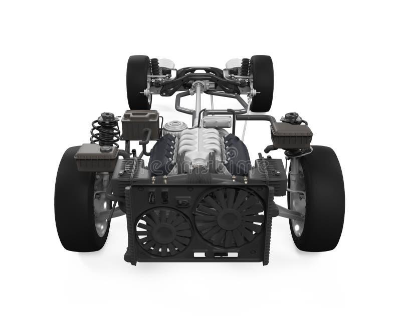 Шасси автомобиля с двигателем стоковые изображения rf