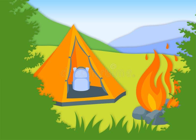 Шатер вектора оранжевый среди деревьев в плоском стиле бесплатная иллюстрация