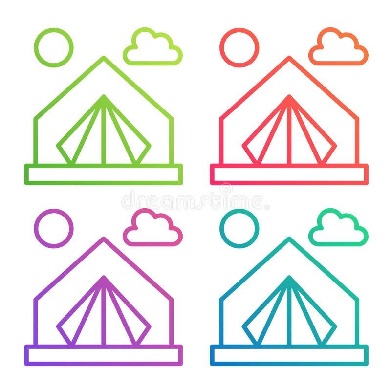 Шатер значка цветного барьера градиента Располагаясь лагерем логотип вектора иллюстрация вектора