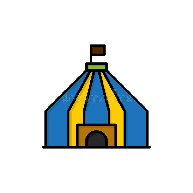 Шатер, шатер, значок цвета цирка плоский Шаблон знамени значка вектора бесплатная иллюстрация