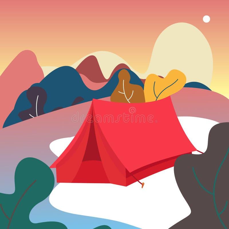 Шатер иллюстрации вектора располагаться лагерем Взгляд на горах Листья Предпосылка леса природы иллюстрация вектора