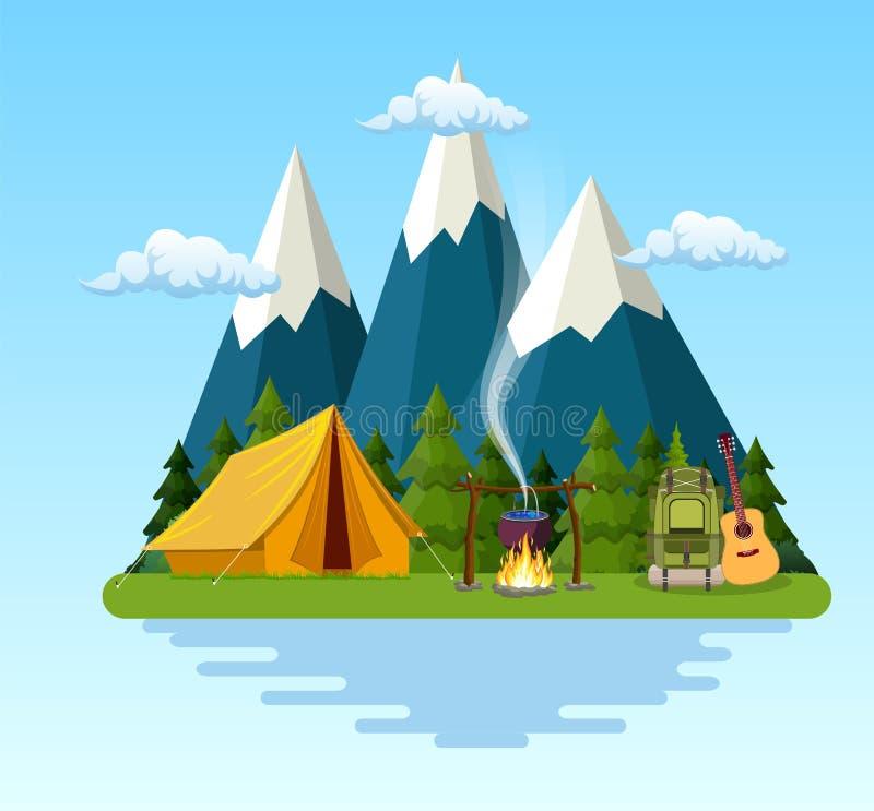 Шатер, лагерный костер, горы, лес и вода бесплатная иллюстрация