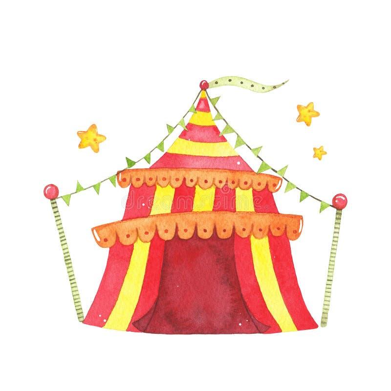 Шатер цирка акварели красный желтый изолированный на белой предпосылке иллюстрация вектора