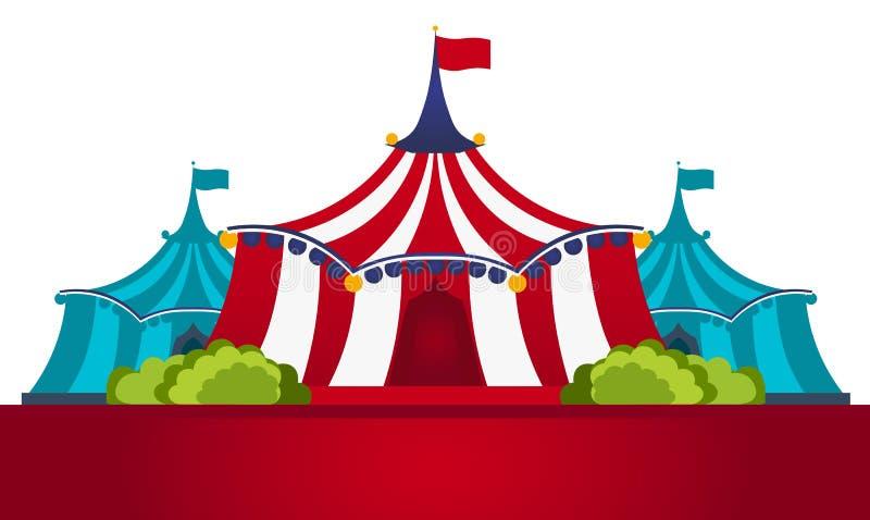 Шатры цирка с знаменем Изумительная выставка Плоская иллюстрация бесплатная иллюстрация