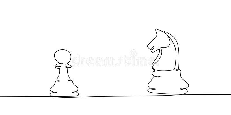 Шахматист пешки против линии вектора рыцаря одного чертежа Непрерывный дизайн концепции игры тактики иллюстрация штока