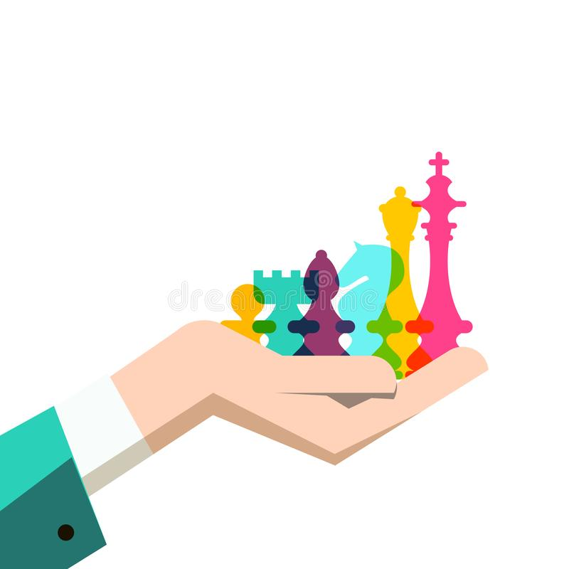 Шахматные фигуры в человеческой руке Иллюстрация стратегии бизнеса иллюстрация штока