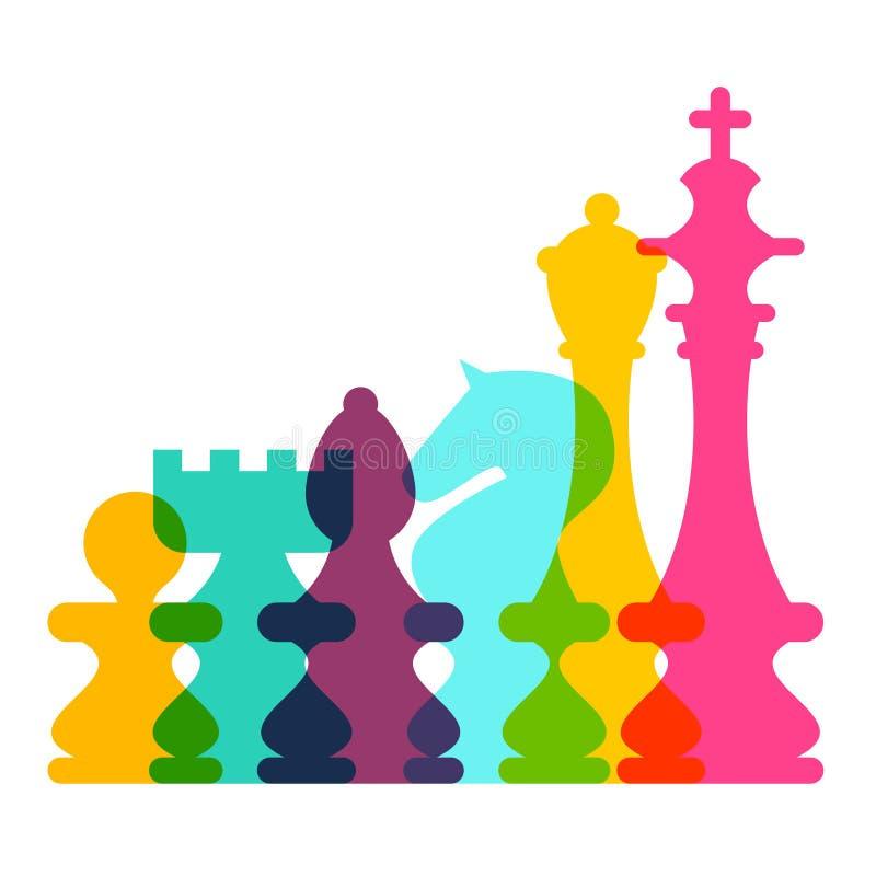 Шахматные фигуры красочного вектора прозрачные иллюстрация вектора