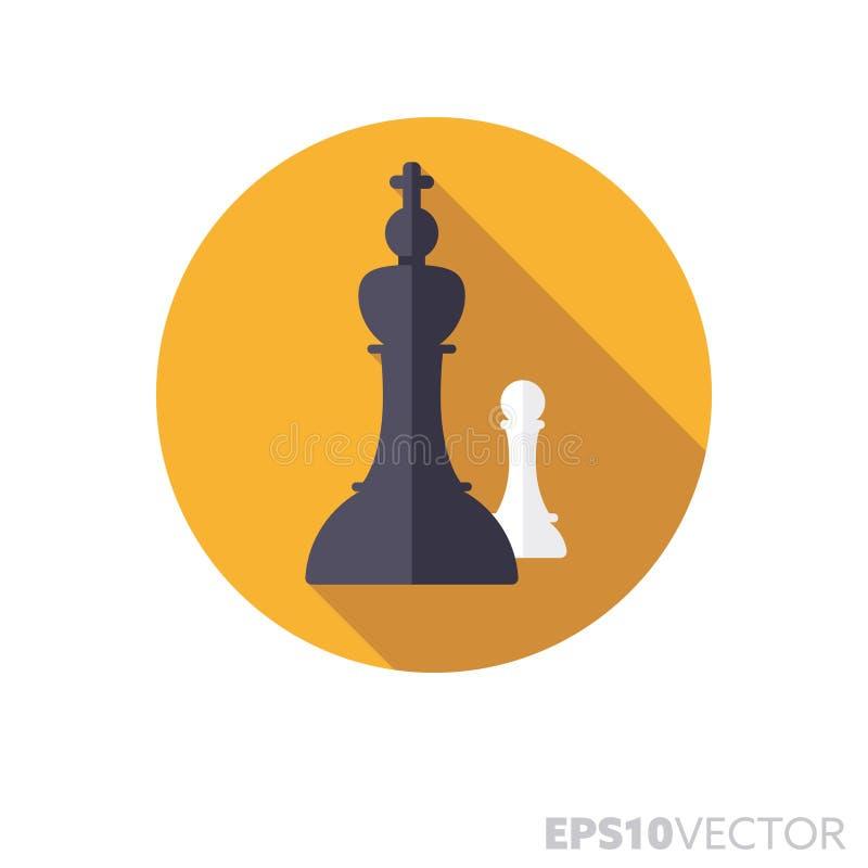 Шахматные фигуры плоско конструируют длинный значок вектора цвета тени иллюстрация вектора