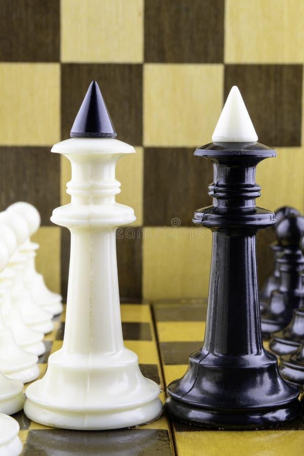 Шахматные фигуры стоят напротив одина другого, королей в разбивочной вертикали стоковые изображения rf