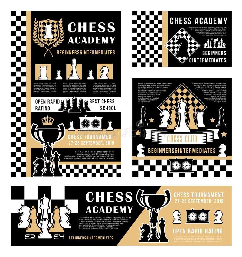 Шахматные фигуры, трофеи игры спорта, доски, часы иллюстрация штока