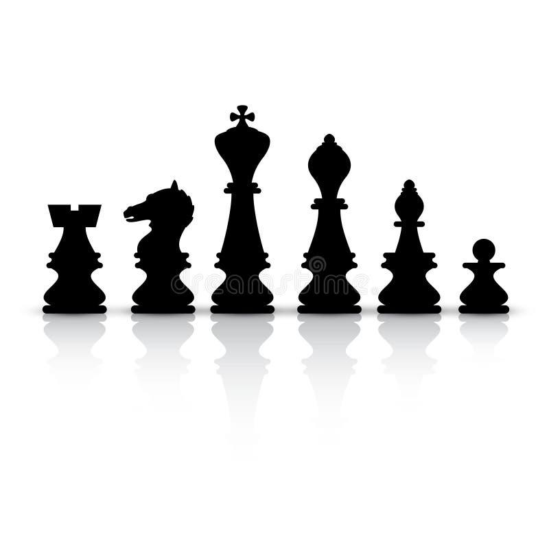 Шахматные фигуры черноты вектора изолировали иллюстрация вектора