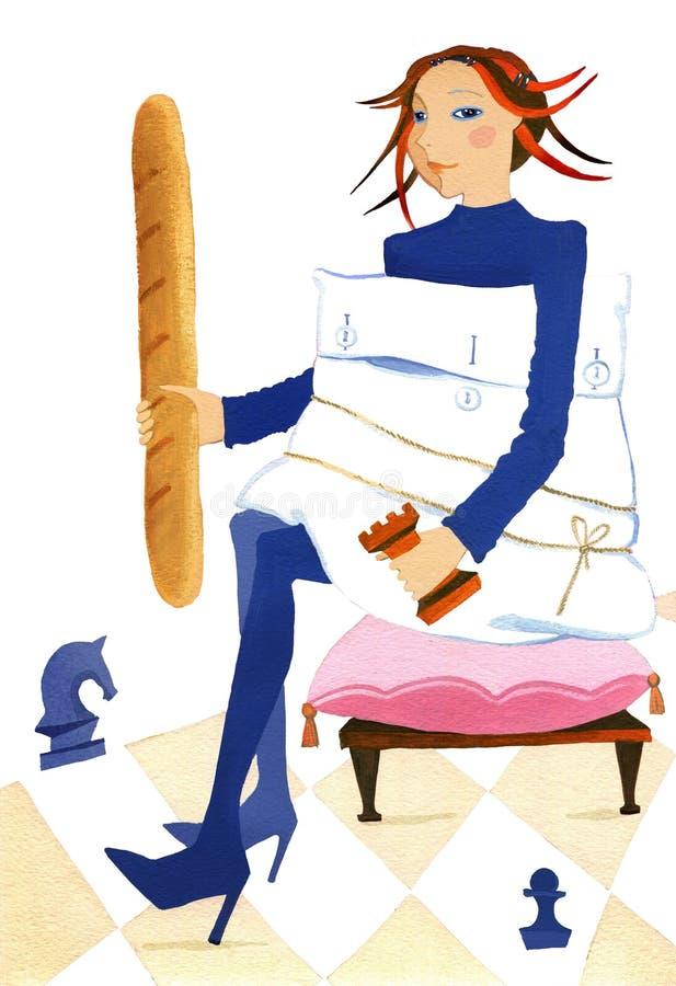 Шахматы, девушка сидя на стуле с шахматами, хлеб и подушка диеты иллюстрация вектора