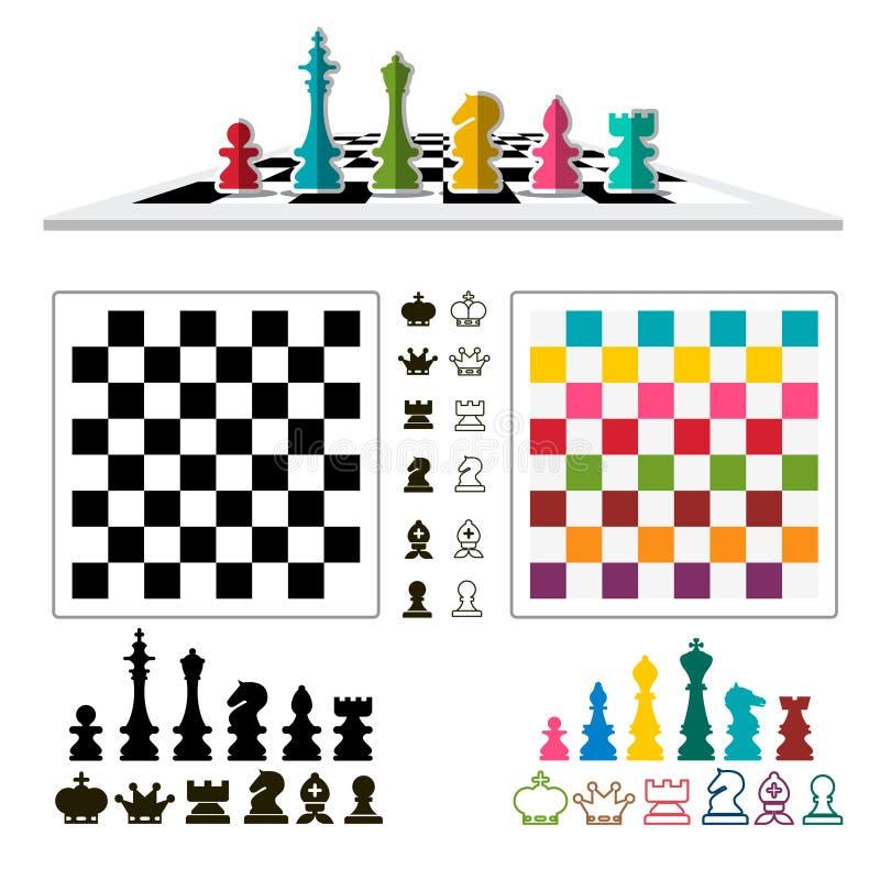 Шахматы установили с частями и досками иллюстрация штока