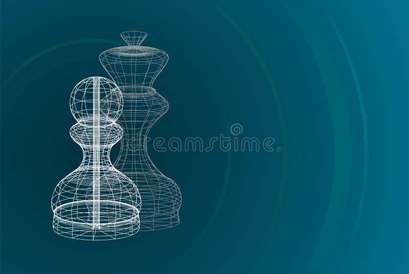 Шахмат силуэта междукадровых штрихов проходя пешку и ферзь бесплатная иллюстрация