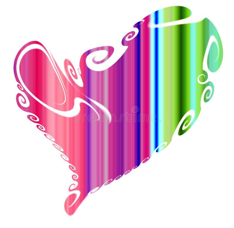 Шаловливый пастельный зеленый фиолет изолировал сердце на белой предпосылке иллюстрация штока