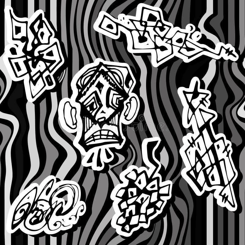 Шальная безшовная текстура с нарисованными рукой абстрактными формами вкладыша и стилизованной стороной Черная белизна fnd бесплатная иллюстрация