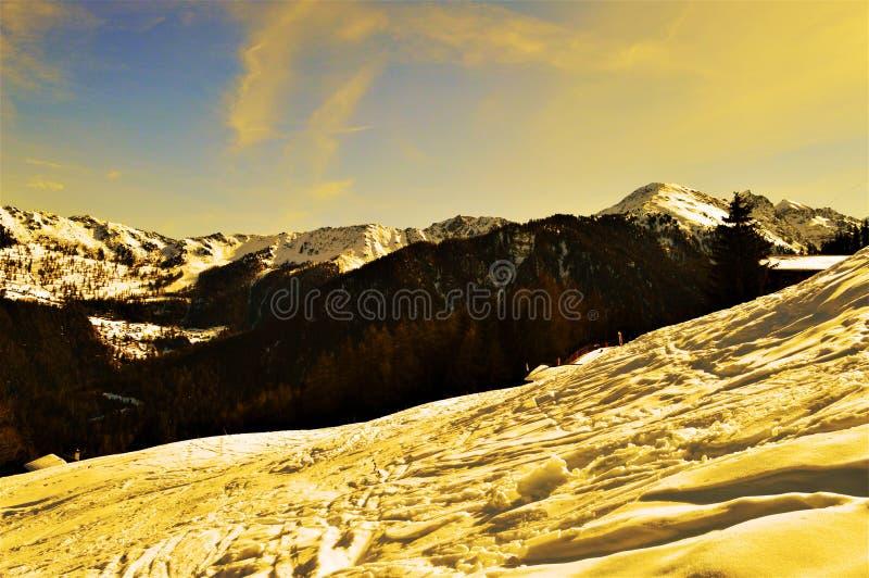Швейцарец Альпы на заходе солнца стоковое изображение rf