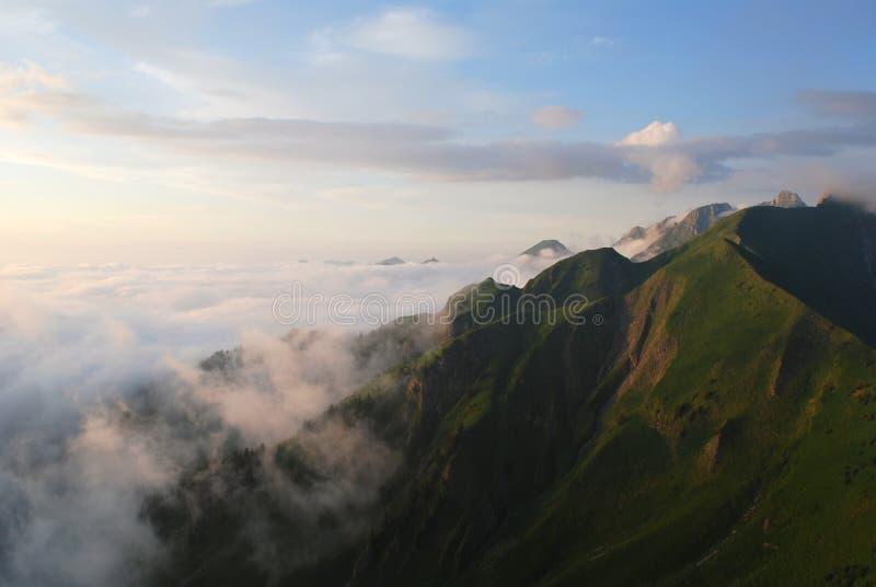 швейцарец захода солнца alps стоковая фотография