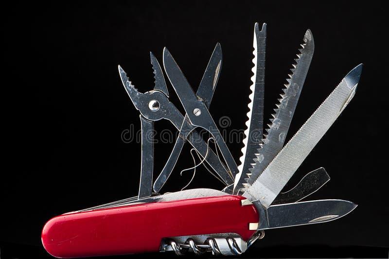 швейцарец красного цвета ножа стоковое изображение