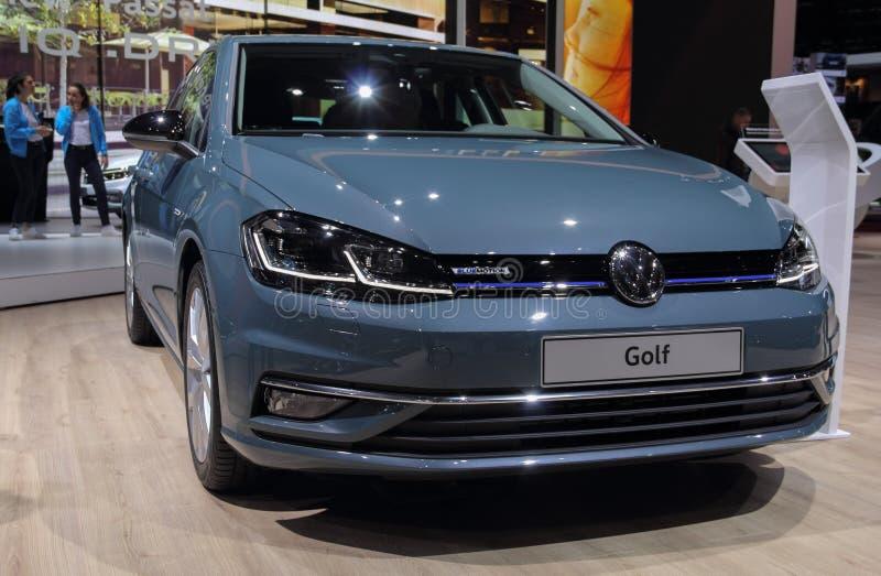 Швейцария; Женева; 11-ое марта 2019; Вид спереди гольфа Фольксваген; 89th международное мотор-шоу в Женеве от седьмого к семнадца стоковые изображения rf