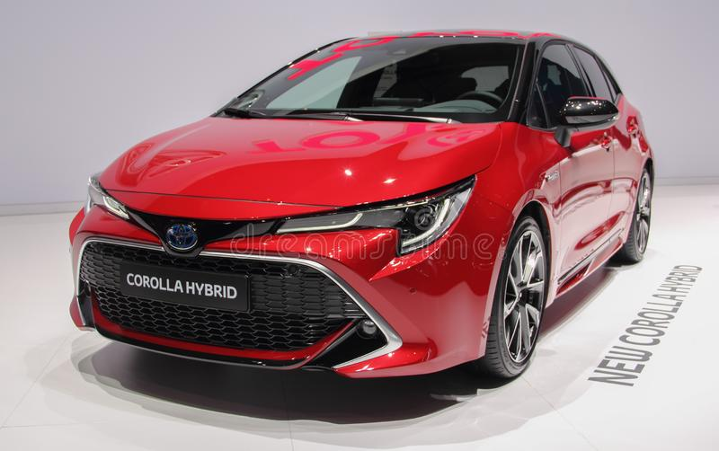 Швейцария; Женева; 9-ое марта 2019; Гибрид Toyota Corolla; 89th международное мотор-шоу в Женеве от седьмого к семнадцатому из ма стоковые фотографии rf