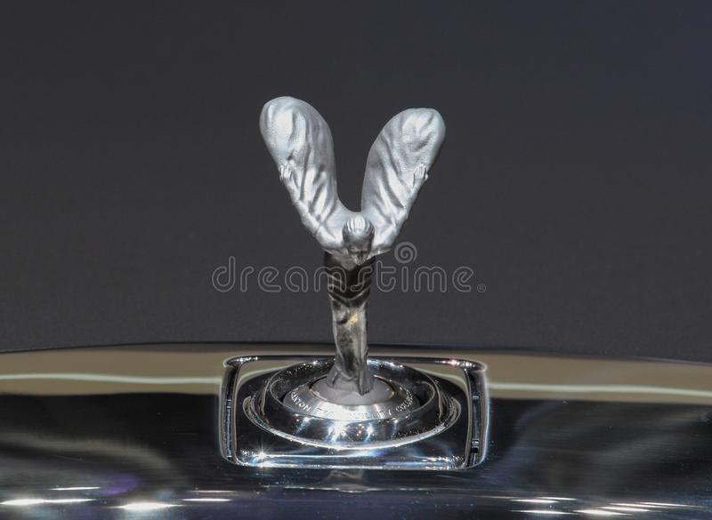 Швейцария; Женева; 11-ое марта 2019; Орнамент клобука безмятежности 3d Rolls Royce фантомный; 89th международное мотор-шоу внутри стоковые изображения