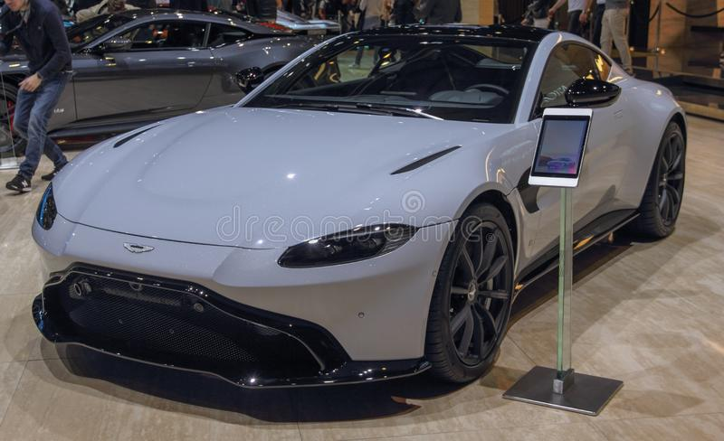 Швейцария; Женева; 10-ое марта 2019; Aston Matrin; 89th международное мотор-шоу в Женеве от седьмого к семнадцатому из марта 2019 стоковое изображение rf