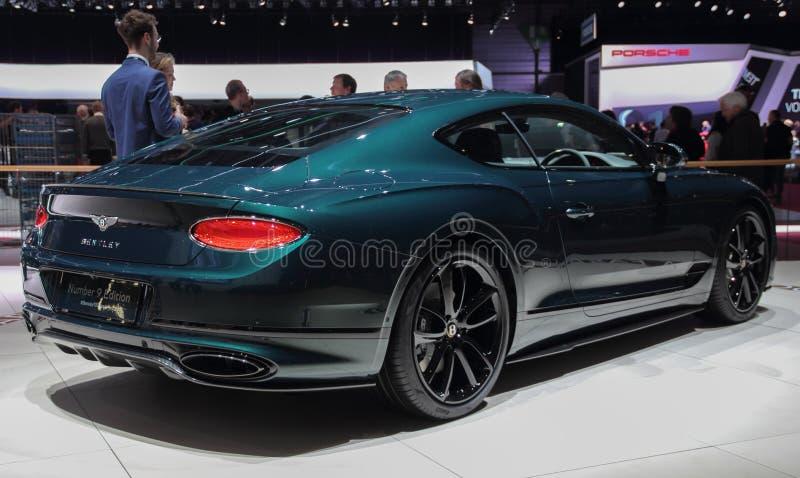 Швейцария; Женева; 10-ое марта 2019; Bentley едет на автомобиле - континентальный вид сзади GT; 89th международное мотор-шоу в Же стоковые изображения