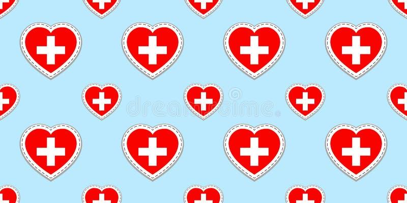 Швейцария, предпосылка флагов Стикеры вектора helvetic Символы сердец любов Картина швейцарского флага безшовная Хороший выбор иллюстрация штока