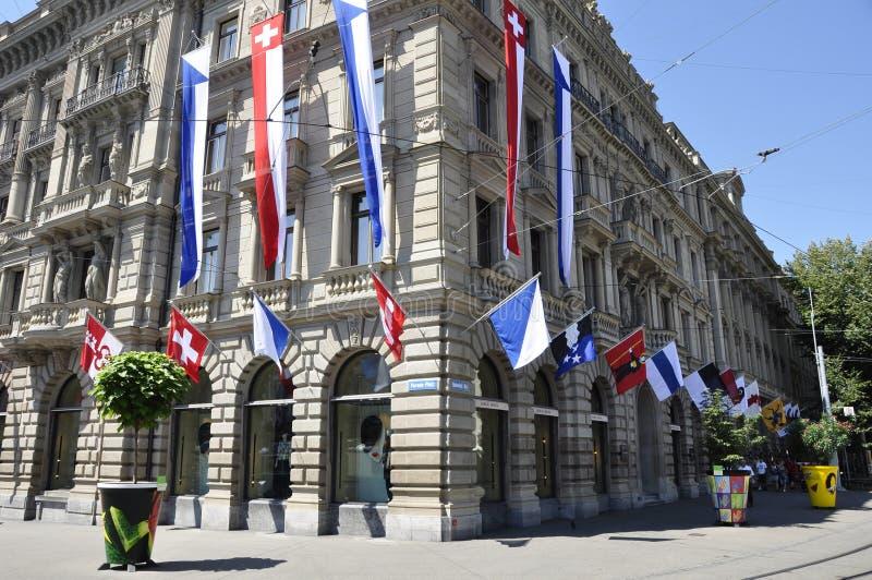 Швейцария: Управление Suisse кредита на Paradeplatz в богачах ¼ ZÃ стоковое изображение rf