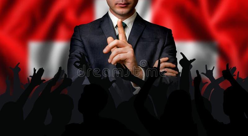Швейцарский выбранный говорит к толпе людей стоковое изображение