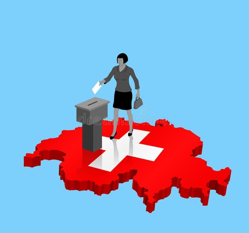 Швейцарский гражданин голосуя для избрания Швейцарии над картой 3D иллюстрация штока