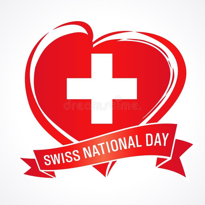 Швейцарский национальный праздник, знамя с сердцем в цвете флага и лента иллюстрация вектора