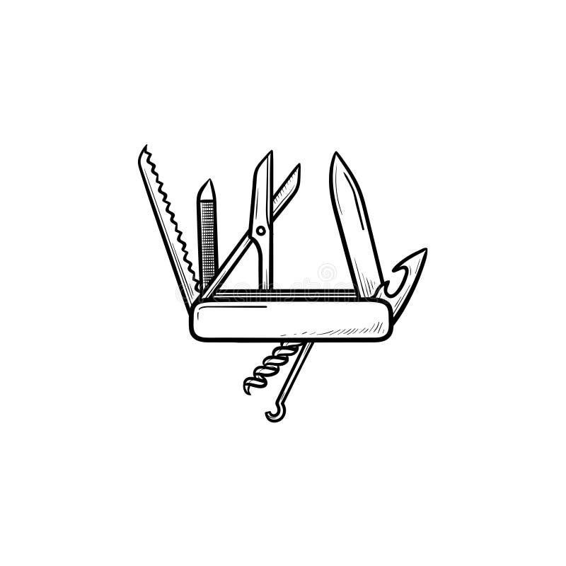 Швейцарский складывая значок doodle плана ножа нарисованный рукой бесплатная иллюстрация