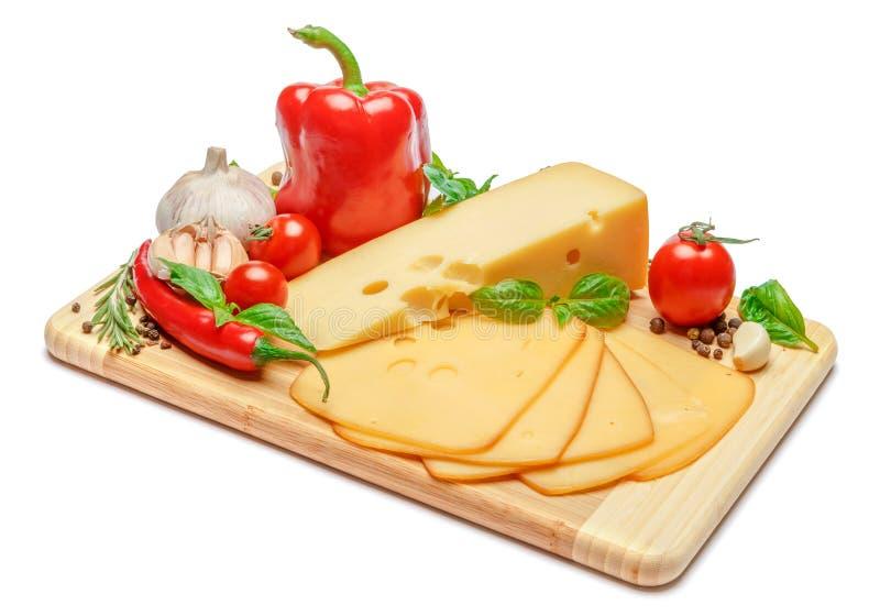 Швейцарский сыр или чеддер и мед на белой предпосылке стоковые фотографии rf